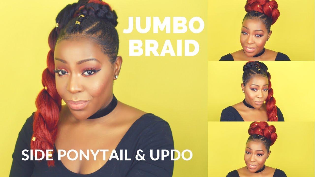 jumbo braid - side ponytail and updo
