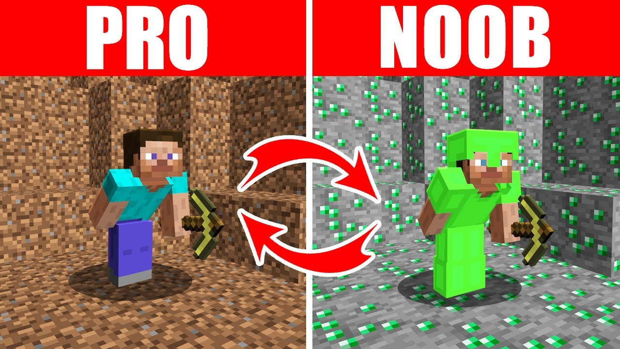 Minecraft NOOB vs. PRO: SWAPPED EMERALD MINING in Minecraft (Compilation)