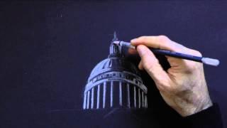 Cómo dibujar la Catedral de St. Paul en la noche - Arte Divierte.