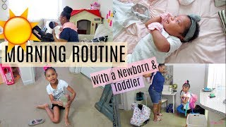 MORNING ROUTINE NEWBORN + TODDLER | STAY AT HOME MOM | Destiny's Life