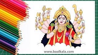 ▶️ Draw: Beautiful Maa Durga devi - step by step drawing
