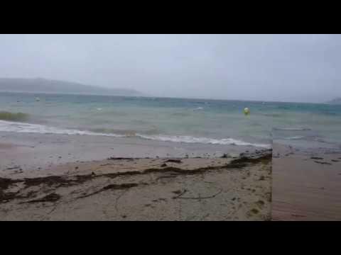 El viento azota al lago de As Pontes