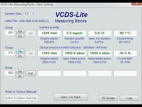 VW Golf 4 TDI PD VCDS measuring blocks  YouTube