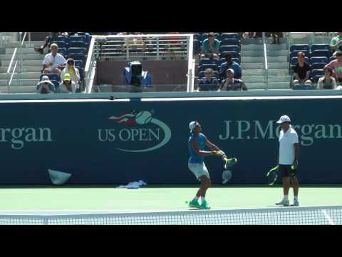 US Open 2016 - Rafa Nadal warm-up and full practice set with Lucas Pouille. Court Level.