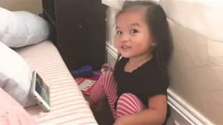 Toddler lip singing to It's Halloween Night
