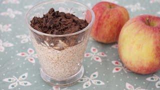 Chia Samen Rezept: Chia Pudding mit Hafermilch, Apfel und Schokolade (vegan)