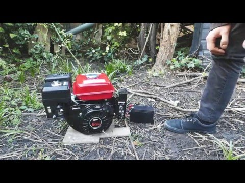 Eberth 6.5hp honda clone petrol engine unboxing and starting overview with sound