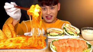 ASMR  치즈듬뿍 라자냐와 연어 샐러드 샌드위치 마늘…