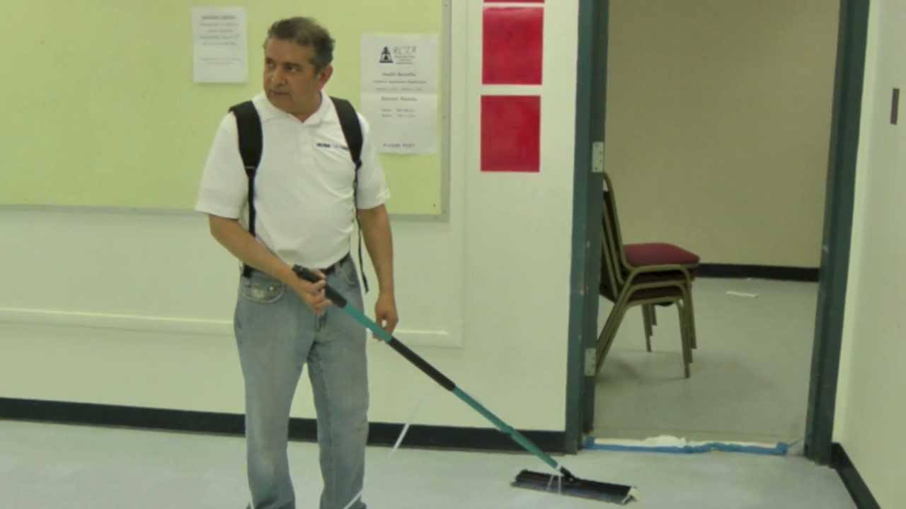 Applying Floor Finish With The Ultra Back Pack Floor Finish Applicator    YouTube
