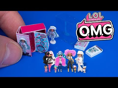 DIY Miniature L.O.L. Surprise! O.M.G. box Winter Disco Snowlicious Fashion Doll & Sister | DollHouse