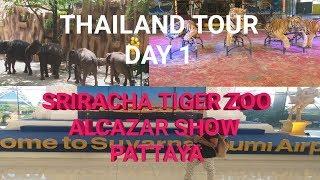 THAILAND TOUR : DAY 1 || SRIRACHA TIGER ZOO ||  FEEDING THE TIGER || ALCAZAR SHOW || PATTAYA