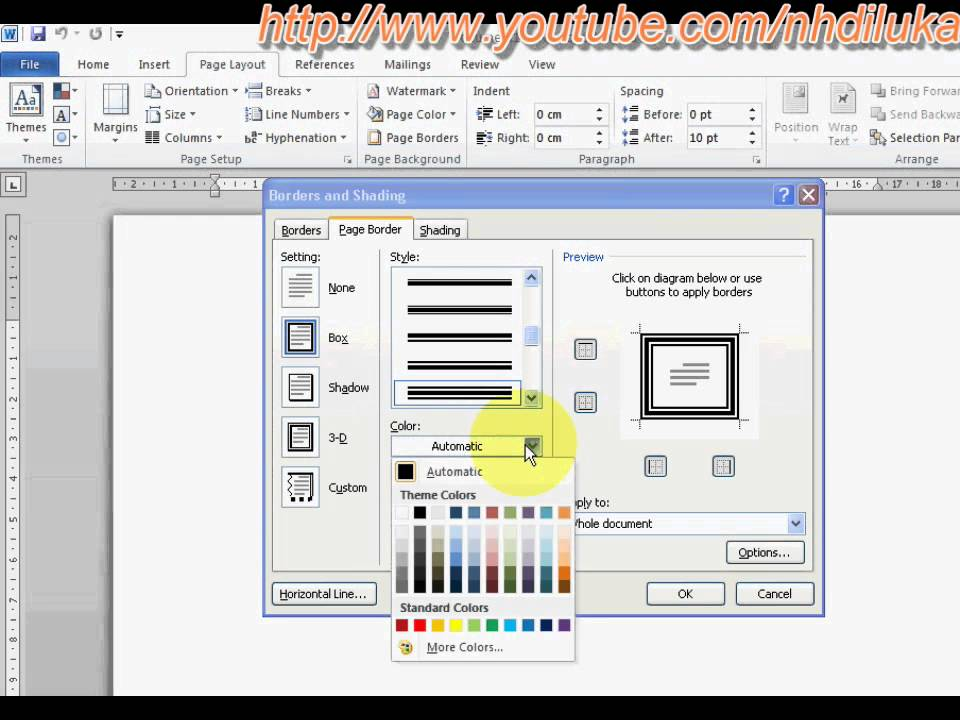 How To Put Page Border In Word 2010 Youtube