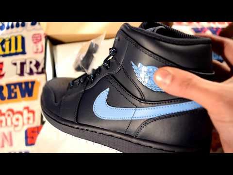 e48cf57313b51 Air Jordan 1 Mid Obsidian University Blue-White NEW Unboxing
