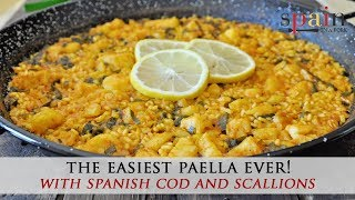 The Most Incredible Spanish Paella With Cod And Scallions