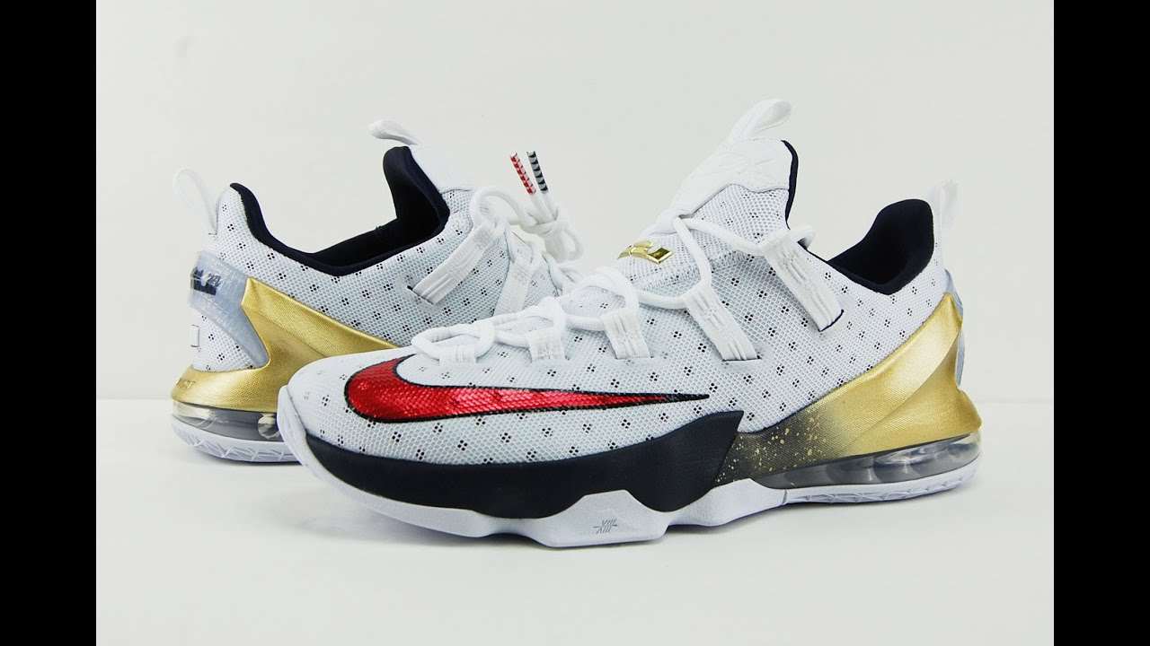 on sale 2347d 527fa ... spain nike lebron 13 low olympic gold medal usa review 90c65 24d94