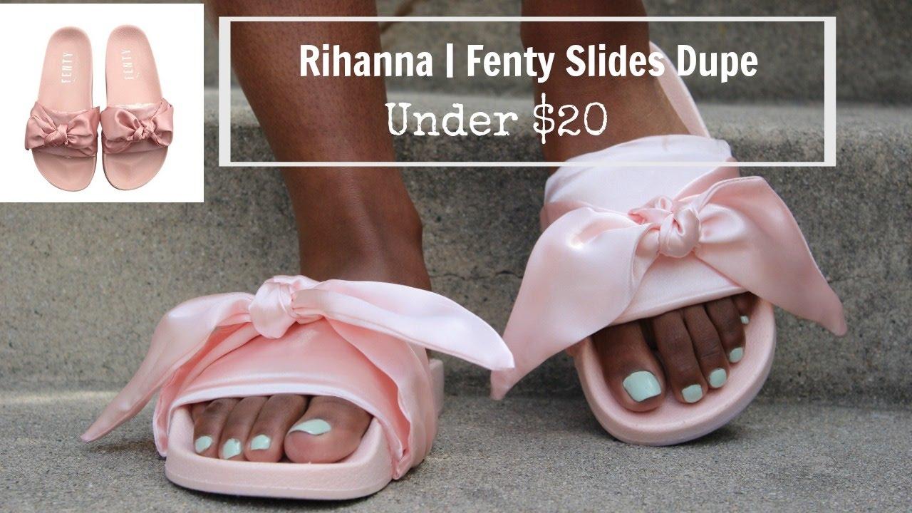 sports shoes e63b5 027e4 DIY Rihanna Fenty Slides Dupe| Under $20