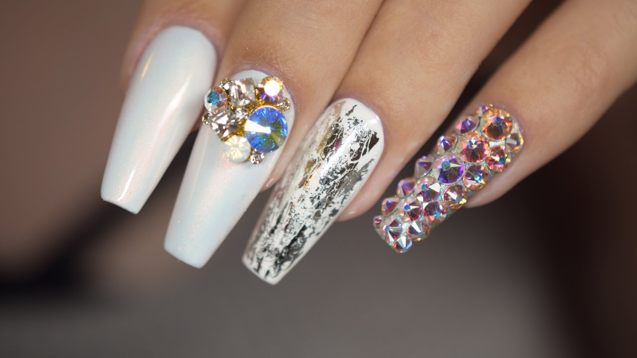 9f2787241 White Pearl Nails with Foil, Charm and Swarovski | April Ryan | Red Iguana