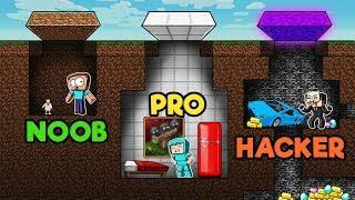 Minecraft - SECRET BUNKER CHALLENGE!  (NOOB vs PRO vs HACKER)