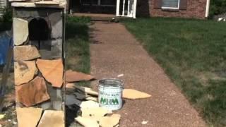 Nashville Mailbox | Flagstone Mailbox Veneer Over Block Small Mailbox Franklin Brentwood Tn