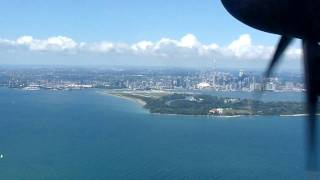 Porter Airlines flight landing at Billy Bishop Toronto City Airport
