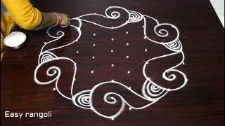 how to draw  beautiful shanku rangoli designs with 9x5 dots - shanku kolam designs - muggulu designs