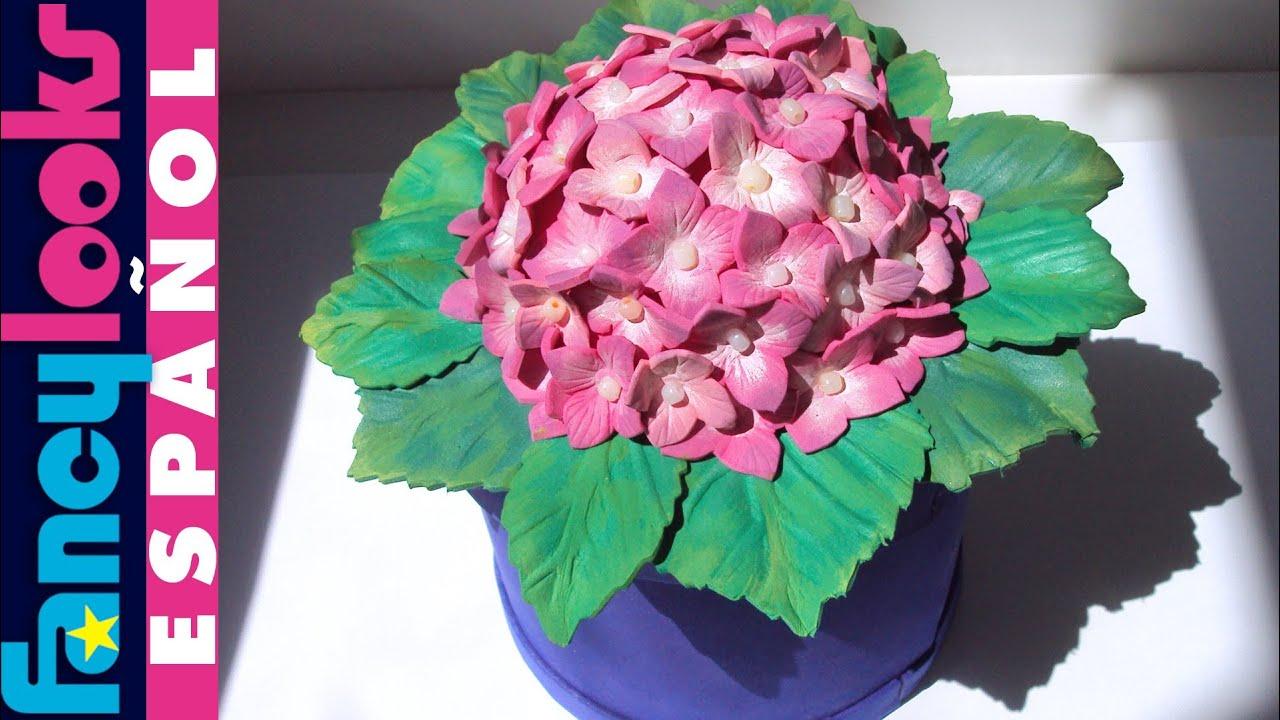 C mo hacer hortensia de goma eva para caja regalo - Como cuidar una hortensia de exterior ...