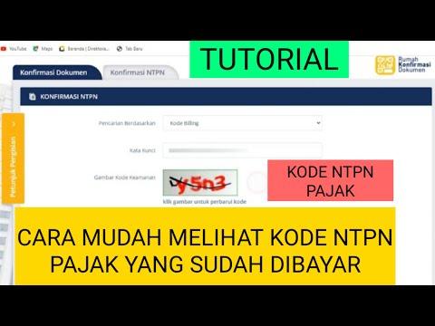 Cara Mudah Melihat Kode Ntpn Pajak Yang Sudah Dibayar Youtube