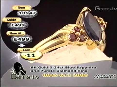 Gems TV - Blue Sapphire & Purple Diamond Ring