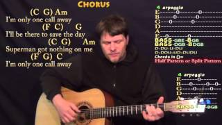 One Call Away (Charlie Puth) Fingerstyle Guitar Cover Lesson in C with Chords/Lyrics