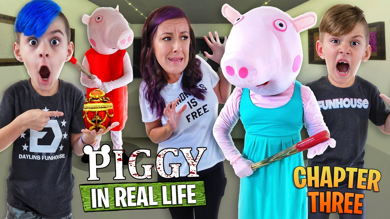 WE ARE SURROUNDED BY MONSTERS! Piggy Chapter 3 GALLERY (FUNhouse Family) Roblox In Real Life