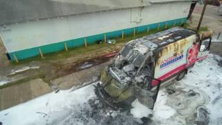 Ambulance on fire aerial footage West Side San Antonio