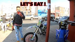 TAKING OUR DIRT BIKES TO A RESTAURANT AND EATING !