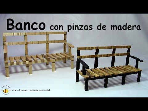 Banco con pinzas de madera manualidades bench or sofa - Hacer una cama de madera ...