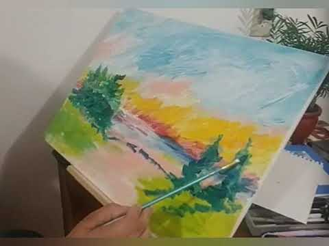Acrylic landscape painting fingers and brush relax time lapse demo voice over