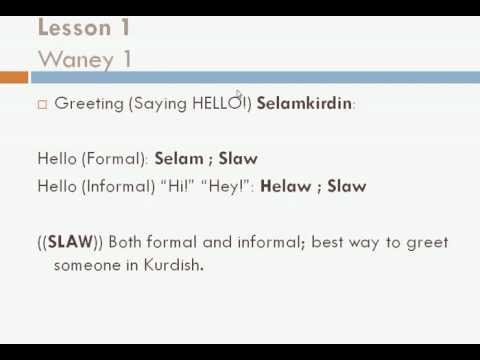 "Learn to speak Kurdish (Sorani) with Sarmad Kinany! 01 ""Basic Phrases"""