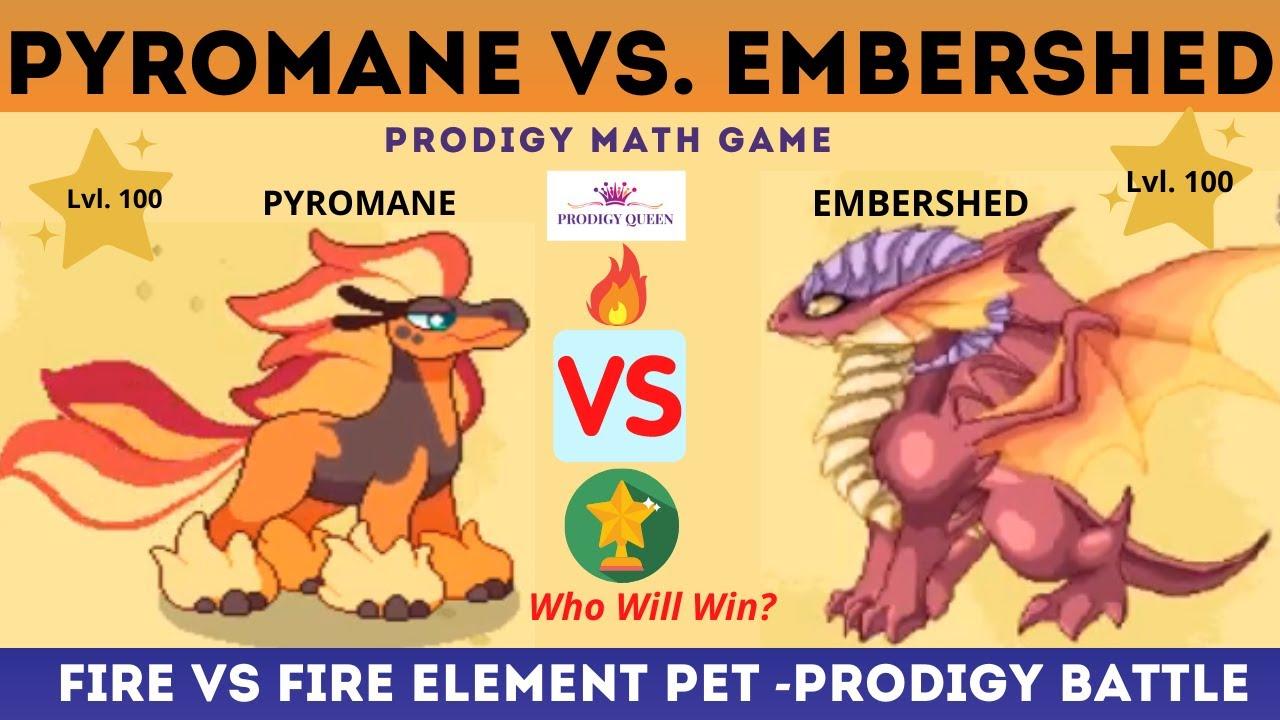Prodigy Math Game Level 100 Pet Battle Pyromane Vs Embershed In Prodigy Youtube