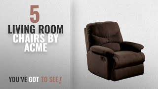 Top 10 Acme Living Room Chairs [2018]: ACME Arcadia Chocolate Microfiber Recliner