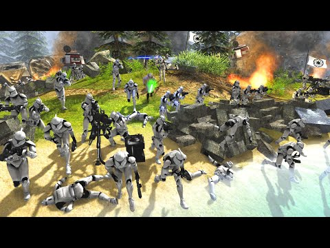 """""""Clones, Hold the River to the DEATH!"""" - Men of War: Star Wars Mod Battle Simulator 