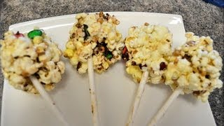 How To Make Popcorn Marshmallow Ball Treats Lollipops, Marshmallow Balls - Cookwithapril