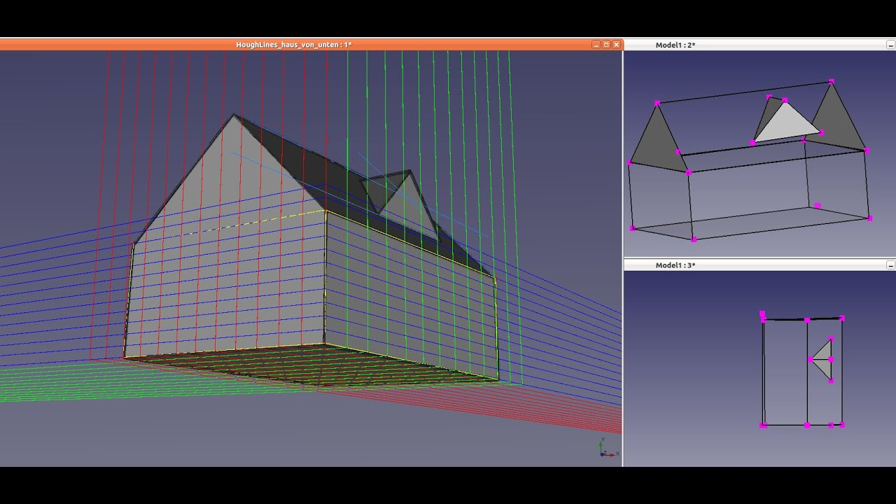 freecad  reconstruction of a house with a pitched roof and
