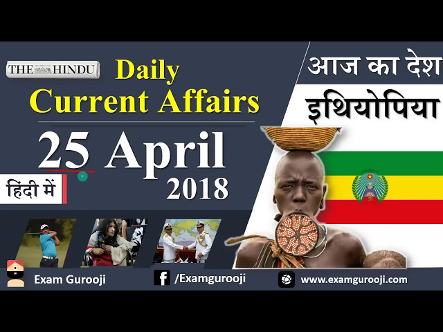 Daily Current Affairs 25 April 2018 - Vyapam, MPPSC, UPPSC, IBPS,SBI,Clerk,Police,SSC CGL,RBI