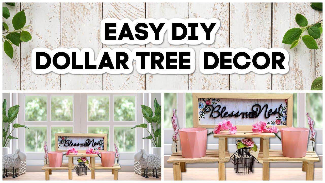 Simple DIY Dollar Tree Farmhouse Decor | Tiered Tray Decor 2021 | Easy Dollar Tree DIYs