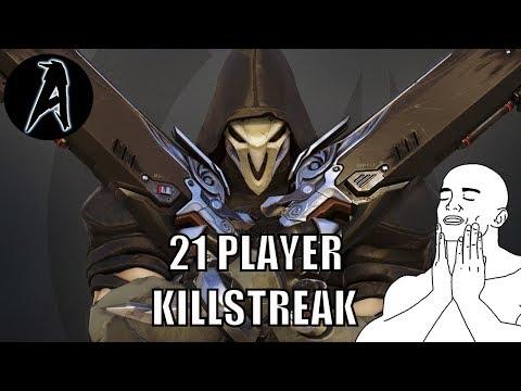 21 Player Killstreak (Reaper Gameplay) | Overwatch Season 7 Placement Match | Win