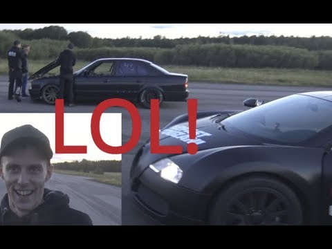 Repost FAVOURITE 1001 HP Bugatti Veyron 16.4 Vs BMW M5 E34 Turbo From A TRUCK Borg Warner Turbo [4k]