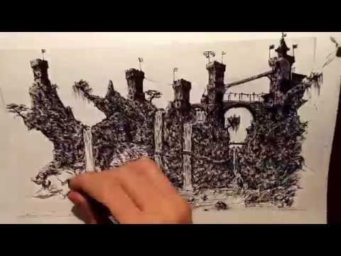 Fantasy Landscape – pen and ink speed drawing
