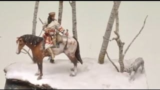 STEP BY STEP INDIAN TRAPPER IN ACRYLICS (horse, ground, tree, snow, etc...)