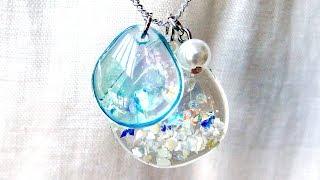 【UVレジン】100均材料で人魚の鱗みたいなネックレスを作りました!mermaid scales necklace resin DIY