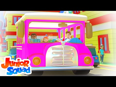 pink-wheels-on-the-bus-|-bus-song-for-kids-|-junior-squad-nursery-rhymes