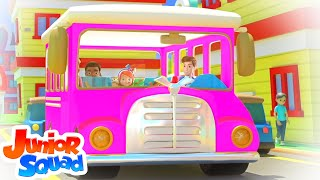 Pink Wheels On The Bus | Bus Song For Kids | Junior Squad Nursery Rhymes