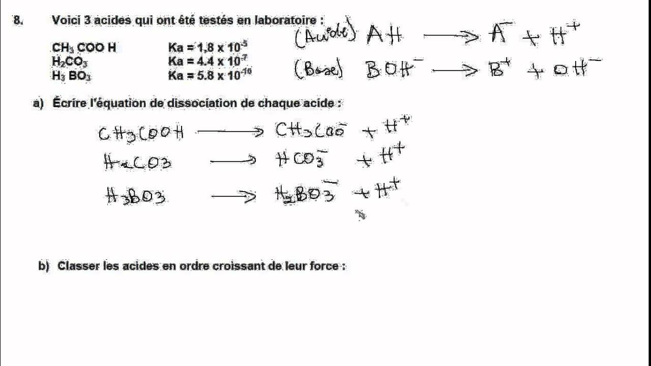 Secondaire 5 Chimie Chi 5043 2 Quebec Acide Base Dissociation Exercice 8 Pretest Estrie Youtube